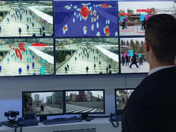 Facial recognition systems being used in CCTV monitoring room